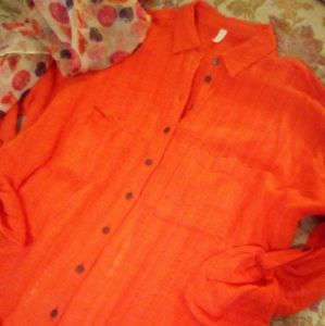 Free People Split back Button up Top